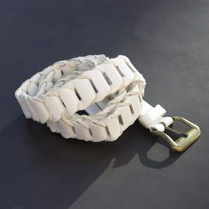 Woven White Leather & Cord Belt